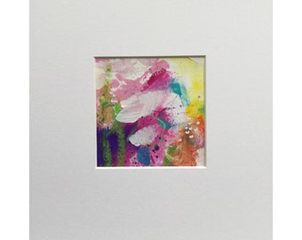 Pretty abstract flower painting in acrylic and oil pastel