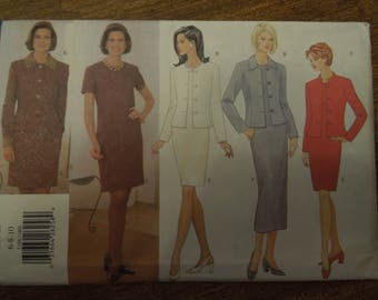 Butterick 5196, sizes 6-10, misses, petite, unlined jacket, dress, UNCUT sewing pattern, craft supplies