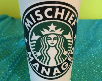 Mischief Managed Harry Potter Style Personalized Customized Starbucks Cup