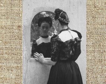 Frida Kahlo photograph, Frida black and white photo print, Kahlo vintage photograph, framed photograph, legendary painters, gift for her