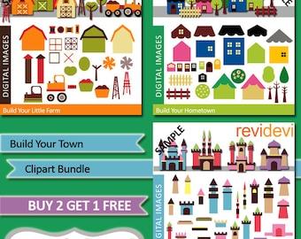 DIY build your houses, castles, farm - Clipart Bundle Sale - Build Your Town - Commercial use digital clip art