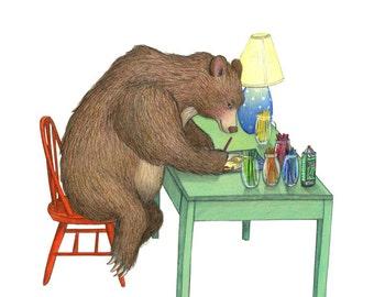 8x10 Print of Bear Artist drawing