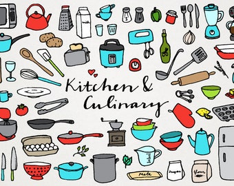 Kitchen and Culinary Clipart - chef clipart, kitchen clipart, cooking clip art, hand drawn, foodie clipart, kitchen art, food packaging art