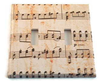 Double Light Switch Cover Wall Decor Switchplate Switch Plate in Symphony   (157D)