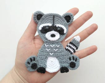 PATTERN Raccoon Applique Crochet Pattern PDF Woodland Animals Pattern Instant Download Accessories Motif Ornament Baby Blanket Baby Gift ENG