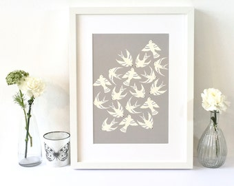 Mothers day gift / Art Bird print / Walll art / For the bird lover / Gift for her / Free UK shipping