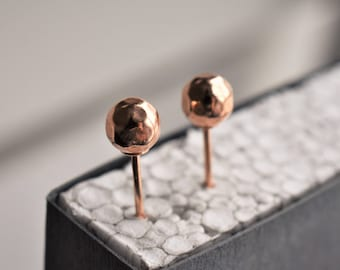 Rose gold dot earring stud. Rose gold ball stud. Tiny Rose gold stud. Minimalist rose gold earrings.