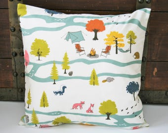 """Organic Throw Pillow Cover, 18"""" x 18"""", Gift for the Camper, Camp Sur, Sofa Pillow Covers, Throw Pillow Covers, Decorative Pillow Covers"""
