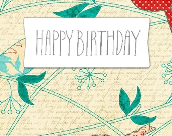 Happy Birthday greeting card handmade 15cm x 10.5 cm