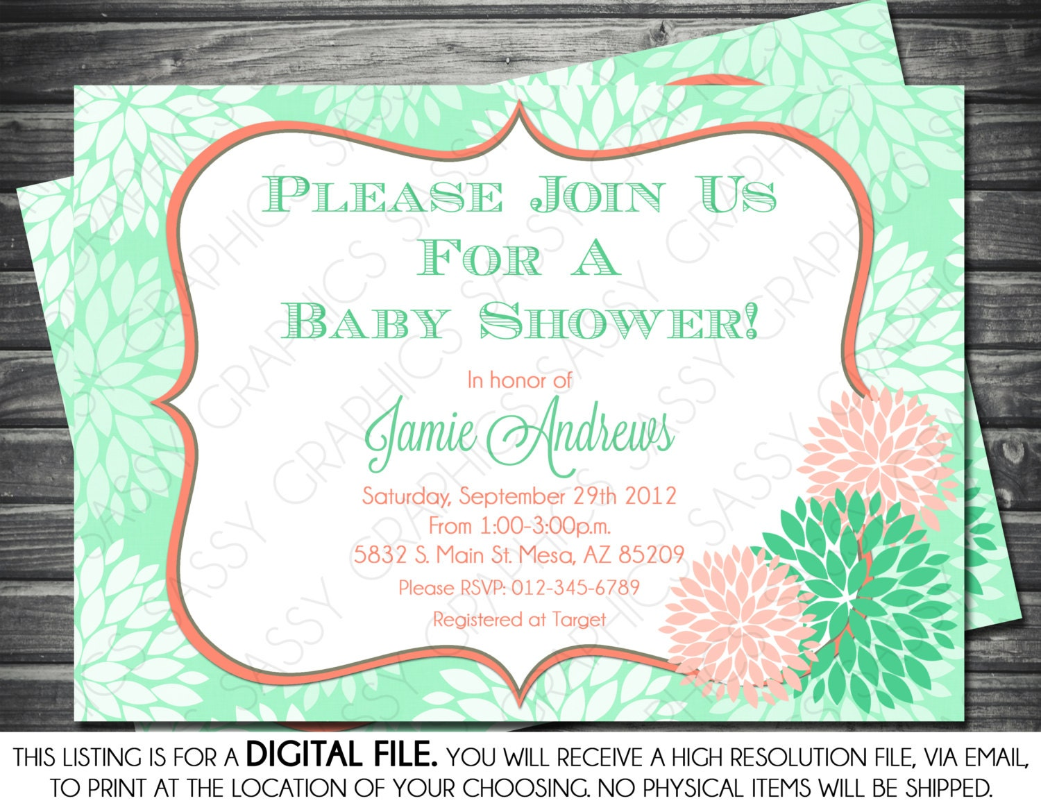 Girl\'s Baby Shower Invitation Modern Floral Mint and