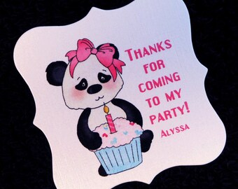 20 Personalized Birthday Party Favor Tags - Girls Birthday Favor Tags -  Panda Party Favor Tags - Panda With Cupcake 2 x 2 Favor Tags