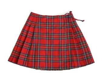 Vintage Express Plaid Pleated Mini Skirt