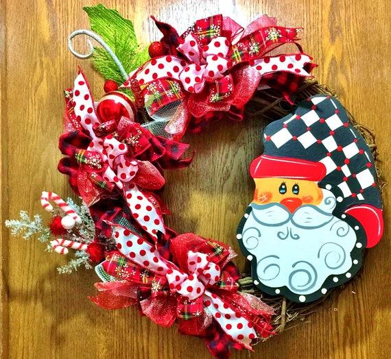 Harlequin Buffalo Plaid Checks Santa - Welcome Door Grapevine Wreath