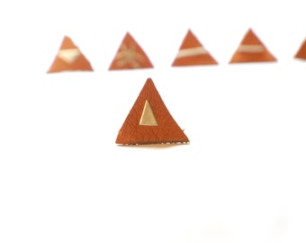 tiny silver earstud triangle 2  - mix and match earrings