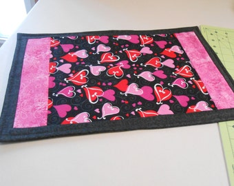 Valentine's Day placemat, red, pink, black, One of a kind design!