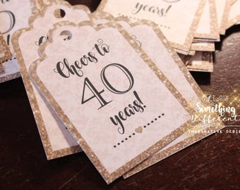 Cheers to 40 years favor tags / Mini Wine Bottle Favor Tags / Mini Champagne Bottle Favor Tags / Black / Champagne / Gold