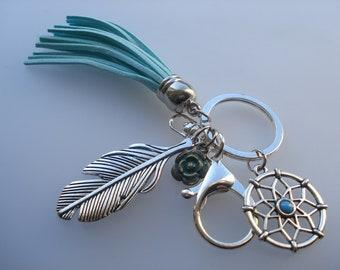 Vintage Silver Plated Dreamcatcher Keychain & Keyring, 13.8cm Feather Flower With Blue Green Velvet Faux Suede Tassel C642