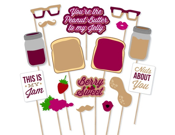 Printable Peanut Butter and Jelly Photo Booth Props