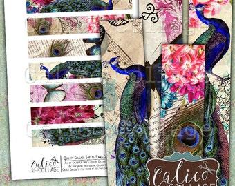 Printable, Spring Peacock, Digital, Collage Sheet, Ephemera Strips, Art Journaling, Digital Download, 1x6 Border Images, CalicoCollage
