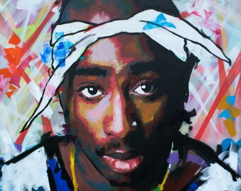 "Tupac Shakur (2pac), Original Painting, 40"", 52"", 60"", Art, Music, Rap, Hip Hop, Graffiti, Richard Day"