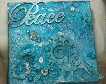 """Mixed media canvas, collage """"Peace"""", distressed, vintage, shabby chic, wall art, home decor, altered art,"""