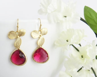 Ruby Earrings, July Birthstone Earrings, Floral Earrings, Valentines Gift, Bridesmaid Earrings, Wedding Jewelry, Bridesmaid Gift