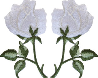 Pair of White Rose Patches Iron On Sew On Embroidered Roses Flowers Patch Badge