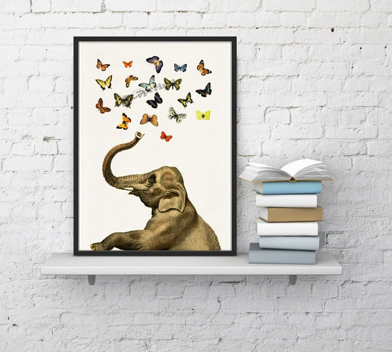 Elephant in love counting butterflies elephant  print- Elephant in love Elephant decor Nursery New born gift  ANI088WA4