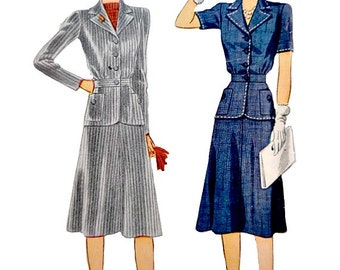 40s Women Two Piece Dress Suit Sewing Pattern Size 12 Bust 30 Skirt Hip Length Jacket Convertible Collar Vintage Simplicity 4075 Non Printed