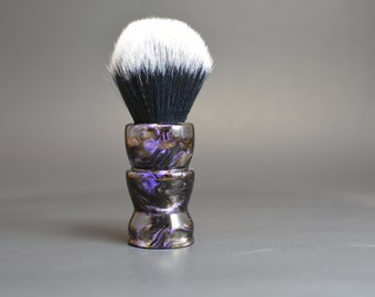 Hand turned black, purple, and silver acrylic shaving brush