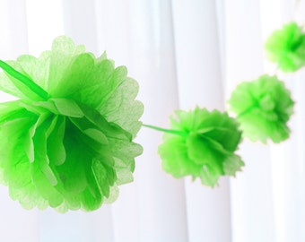 Tissue Pom Garland - 9 foot, available in Bright Pink, Orange, Spring Green, Sky Blue - Great for Showers!