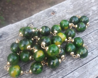 Bakelite Green Spinich Beaded Necklace