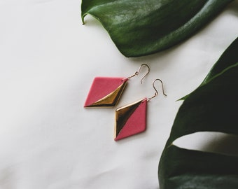 Ceramic Earrings | Pink Earrings | Diamond Earrings