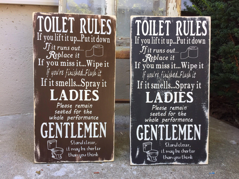 Bathroom Rules Sign Funny Bath Wall Decor Toilet Bathroom