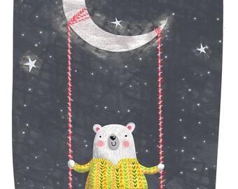 Polar bear, moon and stars - A4 print