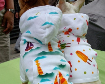 Dog Hoodie, Sailboats, Hand Painted, Cotton, Whimsical, Fun Boho Puppy Hoodie Lighthouse Nautical Anchors Clouds Dog Costumes