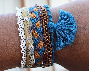 Cuff Bracelet * romantic * ochre and teal shades