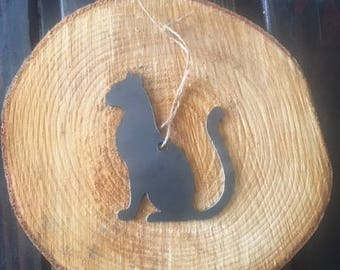 Rustic Recycled Metal Cat Kitty Kitten Steel Ornament Holiday Gift