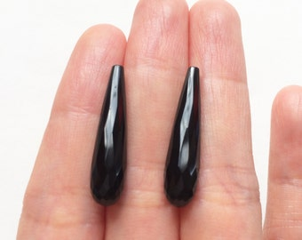 LAST Pair Black Agate Onyx Half Top drilled Faceted Skinny Teardrops 6x25 mm - Perfect for earrings L4309