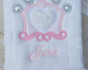 Appliqued Crown Burp Cloth
