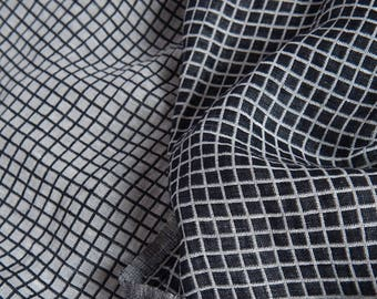 Fabric | Cotton Blend Fabric | Black and White | Checked | Linen Fabric | Washed Linen | Soft Linen | Washed Cotton | Fabric For Clothing
