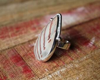 Newsprint Jasper Ring in Sterling Silver