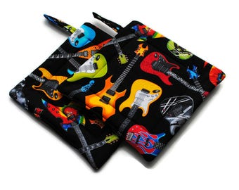 Handmade Quilted  Pot Holders Electric Guitars set of 2 Potholders