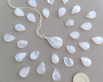 Rainbow Moonstone Necklace in Silver, Birthstone Necklace, June Birthstone - for Her, byJTSjewelry