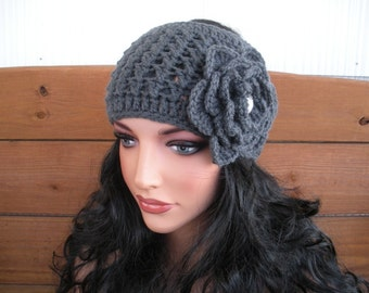 Womens Headband Wide Crochet Headband Winter Fashion Accessories Women Earwarmer Charcoal gray with Crochet Flower