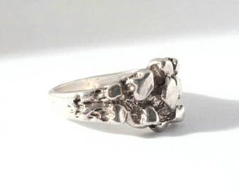Vintage Sterling Silver Nugget Ring Size 6