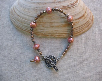 Peach and Bronze Pearl Bracelet