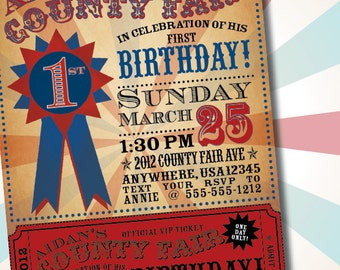 DIY Printable Vintage County Fair Customizable Birthday Party Invitation
