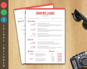 Resume Template / CV Template + Cover letter (3 color themes) - Instant download