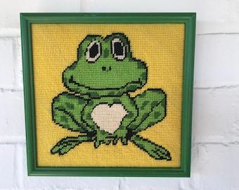 Frog needlepoint Mod framed Art handmade one of a kind wall Hanging